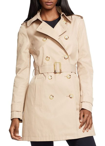 Lauren Ralph Lauren double breasted trench coat in racing khaki - Iconic details, including epaulets, a belted waist and a...