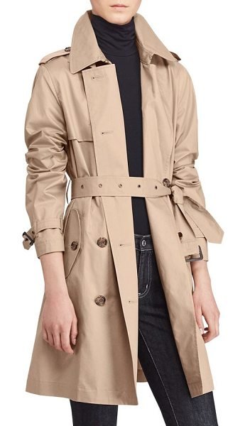 Lauren Ralph Lauren double-breasted trench coat in sand - Style meets function in this spring trench with a...