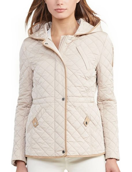 Lauren Ralph Lauren faux leather trim quilted anorak in cream - A hooded anorak is refined with classic diamond quilting...