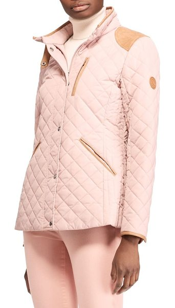 LAUREN RALPH LAUREN faux leather trim quilted jacket - A diamond-quilted jacket shows its refined heritage in a...