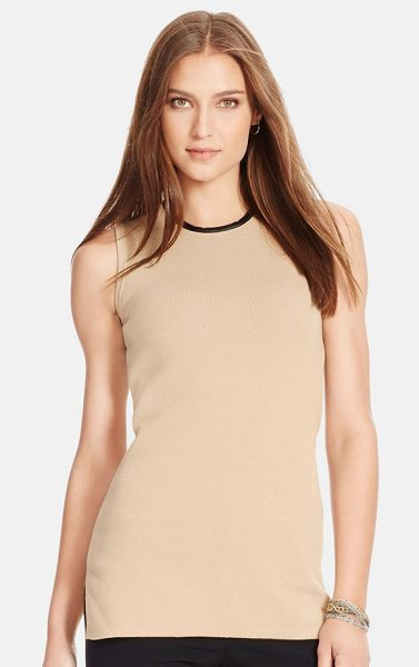 Lauren Ralph Lauren faux leather trim sleeveless sweater in flax tan - Sleek faux-leather trim at the neckline and back zip...