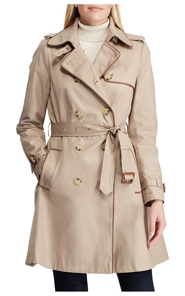 Lauren Ralph Lauren faux leather trim trench coat in beige - Contrast faux-leather piping and iconic details, from a...
