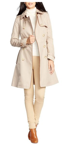 LAUREN RALPH LAUREN faux leather trim trench coat - Contrast faux-leather piping and iconic details, from a...