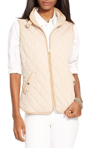 Lauren Ralph Lauren faux leather trim vest in light sand - Diamond quilting and faux-leather trim brings heritage...