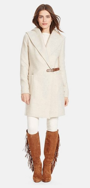 Lauren Ralph Lauren hooded tweed wrap front coat in fawn - A soft tweed coat infused with plenty of wool for cozy...