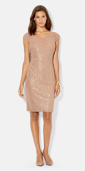 Lauren Ralph Lauren mesh overlay sequin dress in apricot - A sheer mesh overlay softens the shimmer of a sinuous...