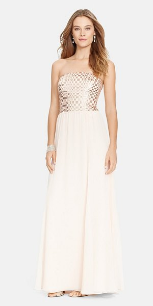 Lauren Ralph Lauren metallic bodice strapless chiffon gown in parisian blush - Metallic squares create a chic checkerboard pattern on...