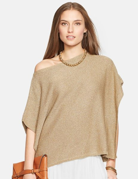 Lauren Ralph Lauren metallic knit poncho top in antique gold - A lovely bateau-neck sweater knit from a glimmering...