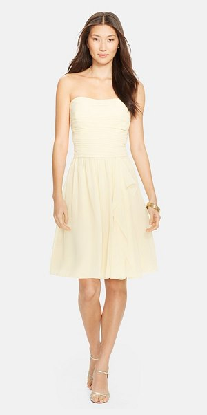 Lauren Ralph Lauren ruched chiffon fit & flare dress in butter - Featherweight chiffon shapes a graceful strapless dress...