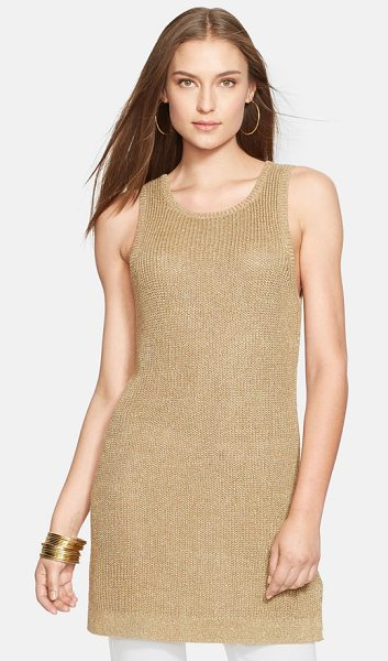 Lauren Ralph Lauren sleeveless metallic knit tunic in antique gold - A gilded knit brings day-into-night shine to a ribbed...