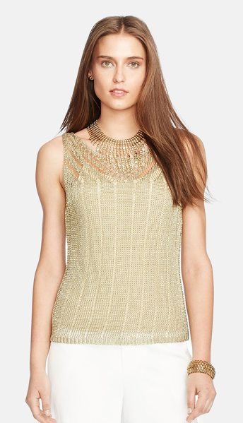 Lauren Ralph Lauren sleeveless metallic pointelle sweater in gold - Glimmering gilded yarn brings day-to-night shine to a...