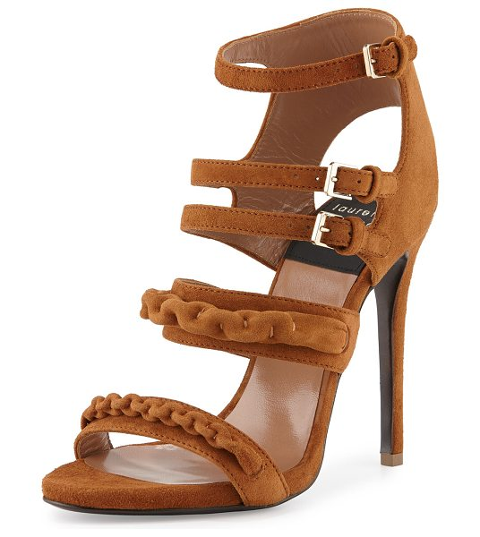 Laurence Dacade Kimy Suede Chain Strappy Sandal in camel - Laurence Dacade suede sandal with self-covered chain...