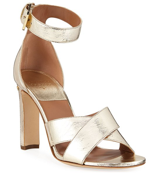 Laurence Dacade Metallic Crisscross Ankle-Wrap Sandals in gold