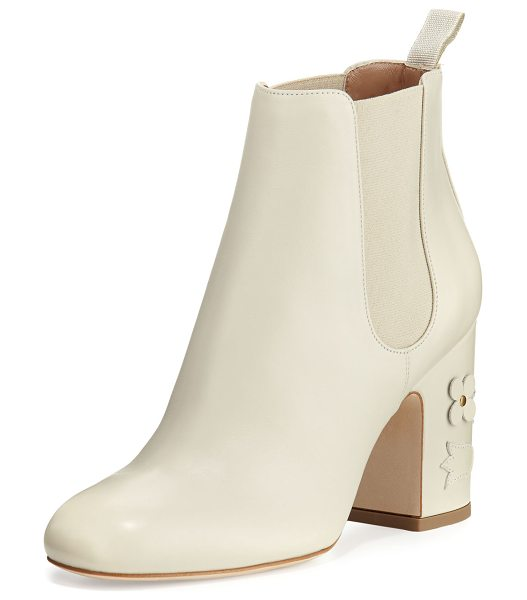 Laurence Dacade Mia Floral-Appliqué Leather 85mm Chelsea Boot in cream - Laurence Dacade calf leather Chelsea boot with floral...