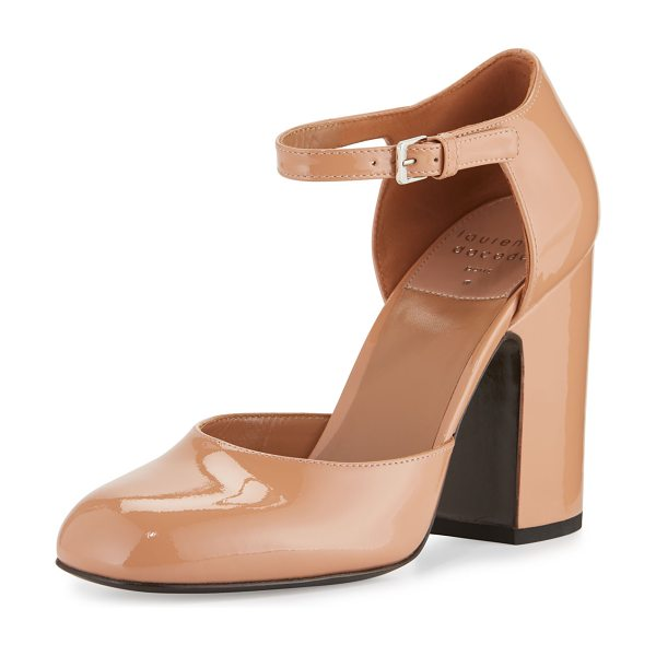 "LAURENCE DACADE Mindy Patent d'Orsay Ankle-Wrap Pump in nude - Laurence Dacade patent leather pump. 4"" covered block..."