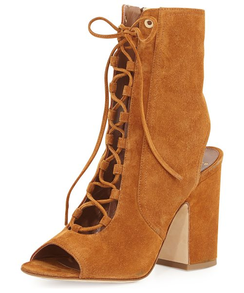 "Laurence Dacade Nelly Suede Lace-Up Booties in camel - Laurence Dacade suede bootie. 4"" covered block heel...."