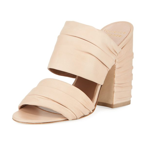 Laurence Dacade Rona Ruched Leather Slide Sandal in beige - Laurence Dacade lamb leather sandal with ruched straps....