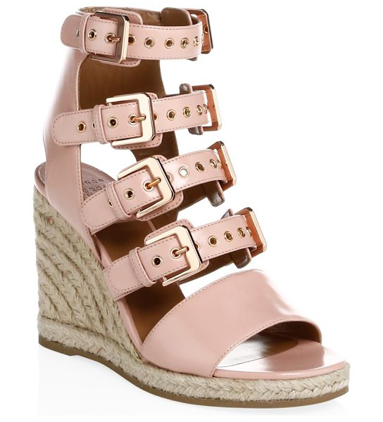 Laurence Dacade rosario shiny leather wedge sandals in rose - Classic leather offers elegant contrast to idyllic...