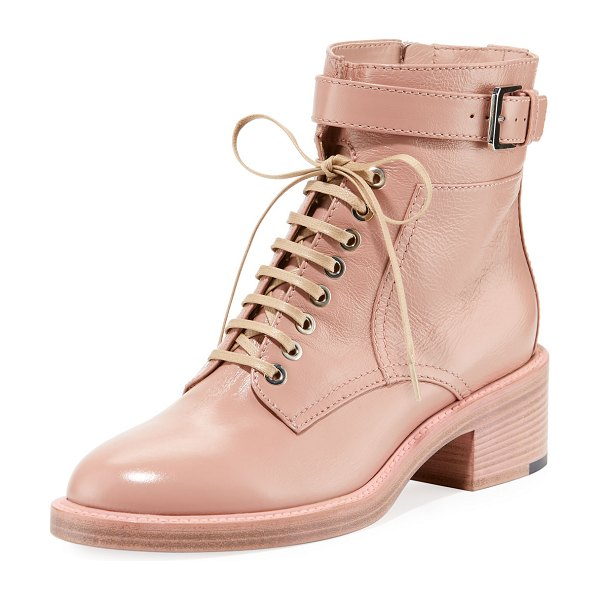 """Laurence Dacade Solene Leather Lace-Up Booties in pink - Laurence Dacade shiny calf leather combat bootie. 1.5""""..."""