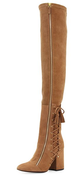 "LAURENCE DACADE Suede Laced-Side Over-the-Knee Boot - Laurence Dacade suede over-the-knee boot. 3.8"" covered..."