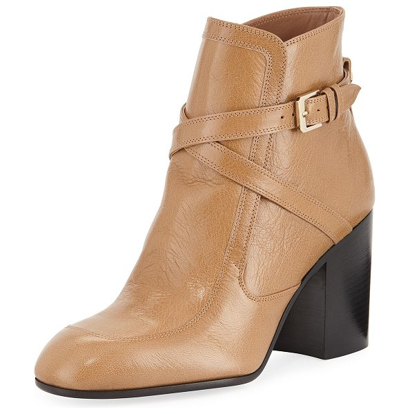 "Laurence Dacade Tonia Crisscross Leather Booties in beige - Laurence Dacade ""Tonia"" leather booties. 3.5"" stacked..."