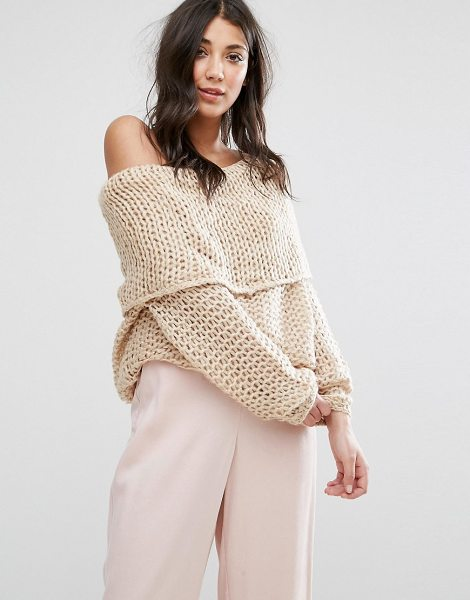 "Lavand Bardot Chunky Knit Sweater in beige - """"Cardigan by Lavand, Chunky soft-touch knit, Bardot..."