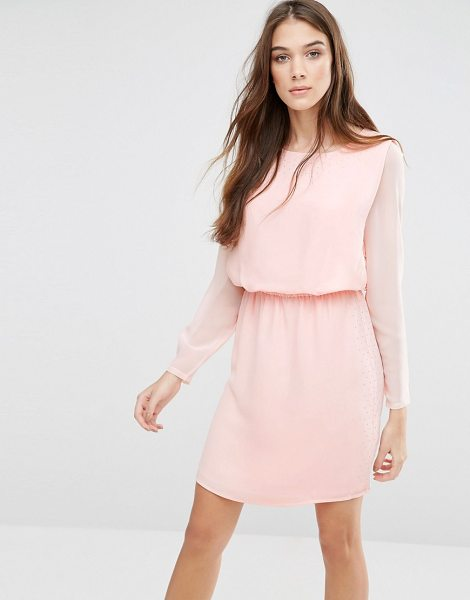 Lavand Classic Long Sleeve Waisted Dress in pink - Casual dress by Lavand, Semi-sheer chiffon, Lined body,...