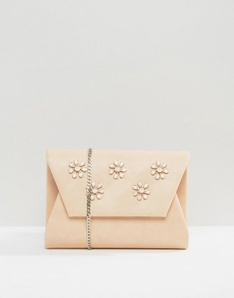 Lavand Embellished envelop clutch bag in pink - Cart by Lavand Faux leather outer Shoulder chain Front...