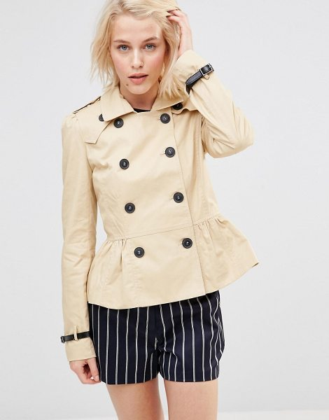 LAVAND Short double breasted classic trench - Jacket by Lavand, Lined woven cotton, Spread collar,...