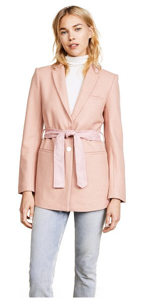 Laveer belted boyfriend blazer in nude pink - A pretty pink LAVEER blazer accented with faux-suede...