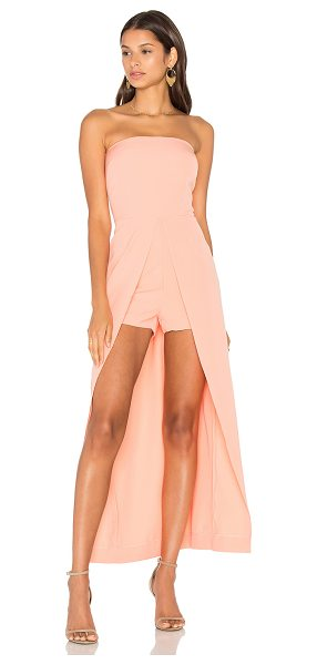 Lavish Alice Bandeau Maxi Overlay Playsuit in peach - 97% poly 3% elastane. Hand wash cold. Back hidden zipper...