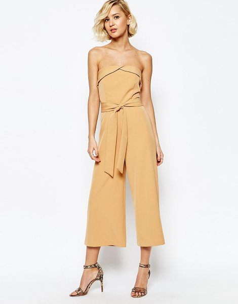Lavish Alice Bandeau Tie Waist Culotte Jumpsuit in tan - Jumpsuit by Lavish Alice, Woven fabric, Bandeau...