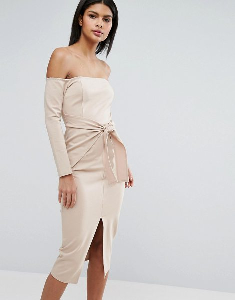 LAVISH ALICE Bardot Tie Front Midi Dress - Midi dress by Lavish Alice, Structured stretch jersey,...
