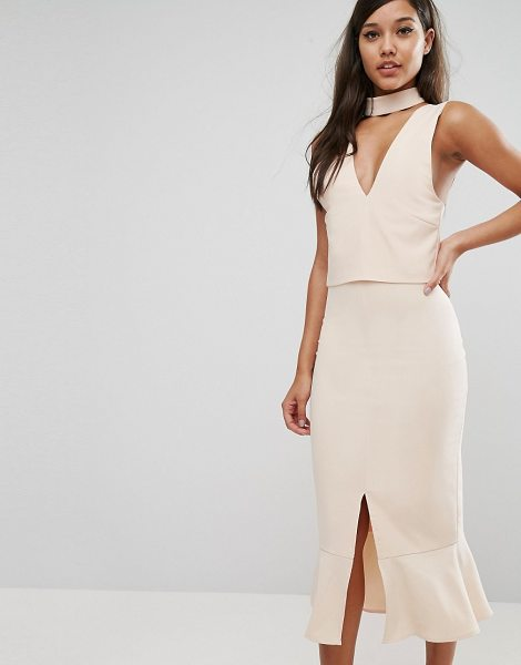 "LAVISH ALICE Choker Detail Flounce Hem Midi Dress - """"Midi dress by Lavish Alice, Woven fabric, Plunge neck,..."