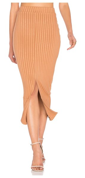 LAVISH ALICE Flounce Hem Midi Skirt in camel - 60% cotton 40% poly. Hand wash cold. Unlined....