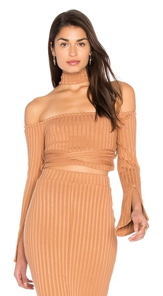 LAVISH ALICE High Neck Wrap Around Top in camel - 60% cotton 40% poly. Hand wash cold. Elasticized...