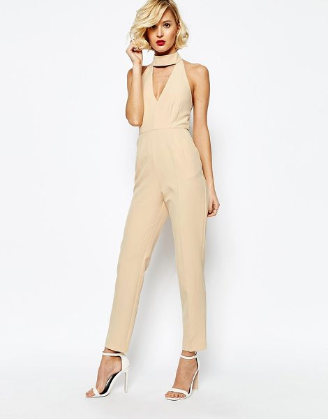 Lavish Alice Keyhole High Neck Deep Plunge Jumpsuit in pink - Jumpsuit by Lavish Alice, Woven fabric, Turtle neckline,...
