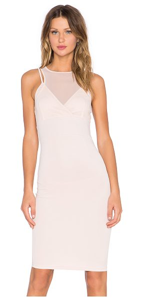 Lavish Alice Mesh top dress in blush - 93% poly 7% spandex. Hand wash cold. Partially lined....