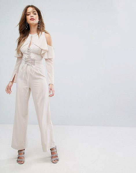 """Lavish Alice Nude Lace Up Wide Leg Pants in pink - """"""""Pants by Lavish Alice, Smooth woven fabric, High..."""