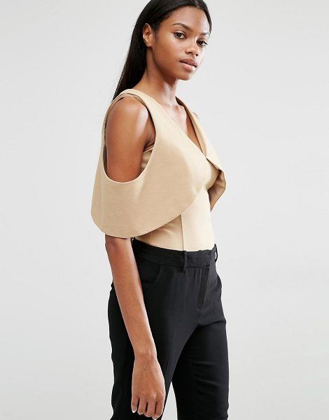Lavish Alice Plunge Open Sleeve Body in tan - Body by Lavish Alice, Stretch jersey, Plunge neckline,...