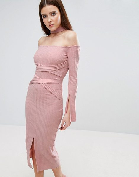 64df181e6c06 Lavish Alice Rib Knit High Neck Wrap Around Belt Midi Dress in pink -  Bodycon dress