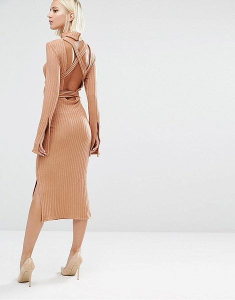 Lavish Alice Rib Knit Open Back Wrap Around Belt Midi Dress in tan - Dress by Lavish Alice, Ribbed knit, Roll neckline,...