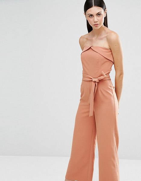 Lavish Alice Tall Bandeau Tie Waist Jumpsuit in tan - Tall jumpsuit by Lavish Alice Tall, Smooth stretch...