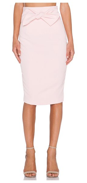 Lavish Alice Tie front midi skirt in blush - 97% poly 3% spandex. Hand wash cold. Skirt measures...