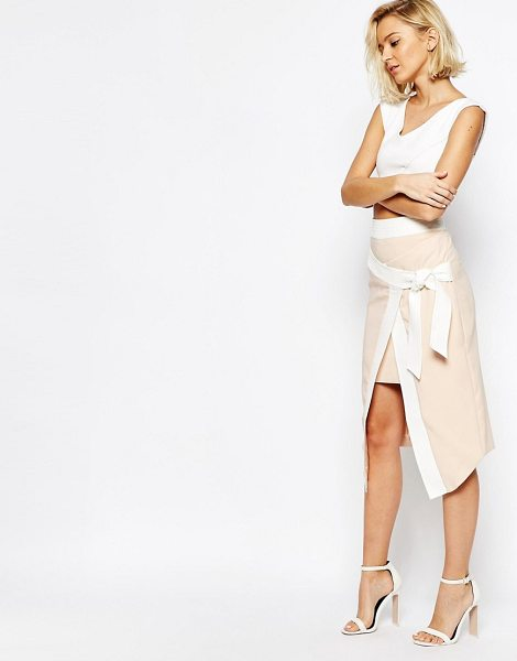 Lavish Alice Wrap Asymmetric Skirt with Obi Belt in pink - Skirt by Lavish Alice, Lightweight crepe, Contrast...