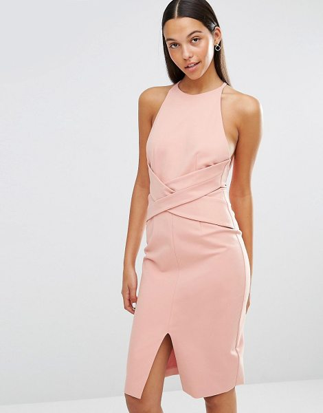 Lavish Alice Wrap Front Plunge Back Detail Midi Dress in pink - Midi dress by Lavish Alice, Smooth stretch fabric, Crew...
