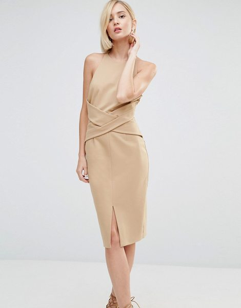 "Lavish Alice Wrap Front Plunge Back Detail Midi Dress in beige - """"Midi dress by Lavish Alice, Knitted fabric, High..."