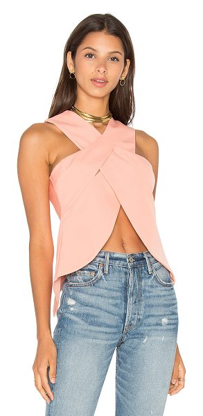 Lavish Alice Wrap Over Top in coral - 97% poly 3% elastane. Hand wash cold. Crisscross front...