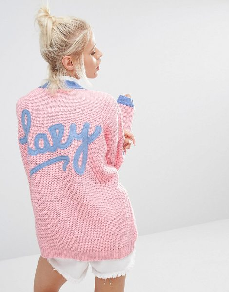 Lazy Oaf College cardigan in knitted rib with logo back in pink - Cardigan by Lazy Oaf, Midweight chunky knit, V-...