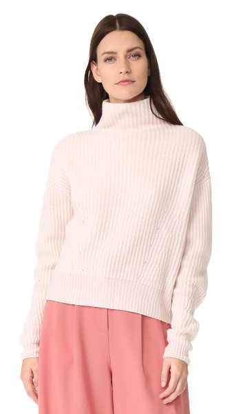 Le Kasha mock neck cashmere sweater in light pink - This slouchy cashmere Le Kasha sweater has a mock...